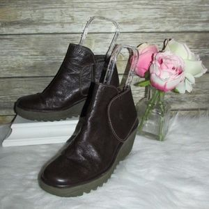 Fly London Yogi Brown Leather Wedge Ankle Boots
